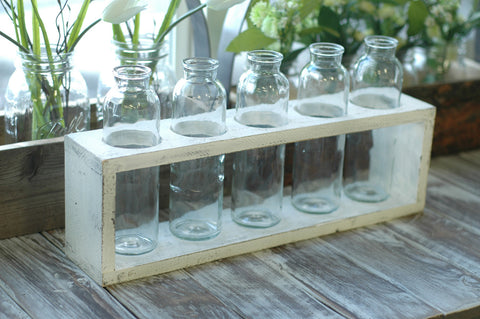 Wooden Centerpiece Flower Holder, Shabby Chic Finish, Includes Vases