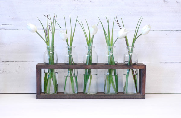 Wooden Centerpiece Flower Holder, Kona Finish, Includes Vases
