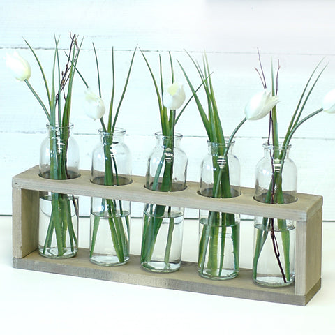 Wooden Centerpiece Flower Holder, Sunbleached Finish, Includes Vases