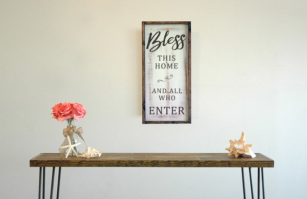 Bless This Home and All Who Enter Framed Wall Art, 12x24