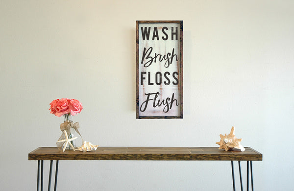 Wash Brush Floss Flush, Framed Bathroom Wall Art, 11x22