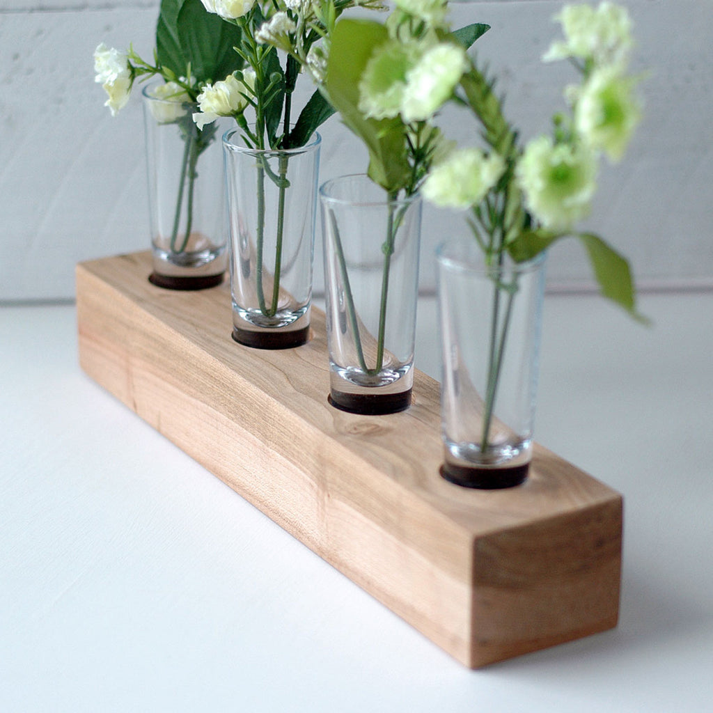 Beautiful Shot Glass Flower Vases on Solid Wood Maple Holder