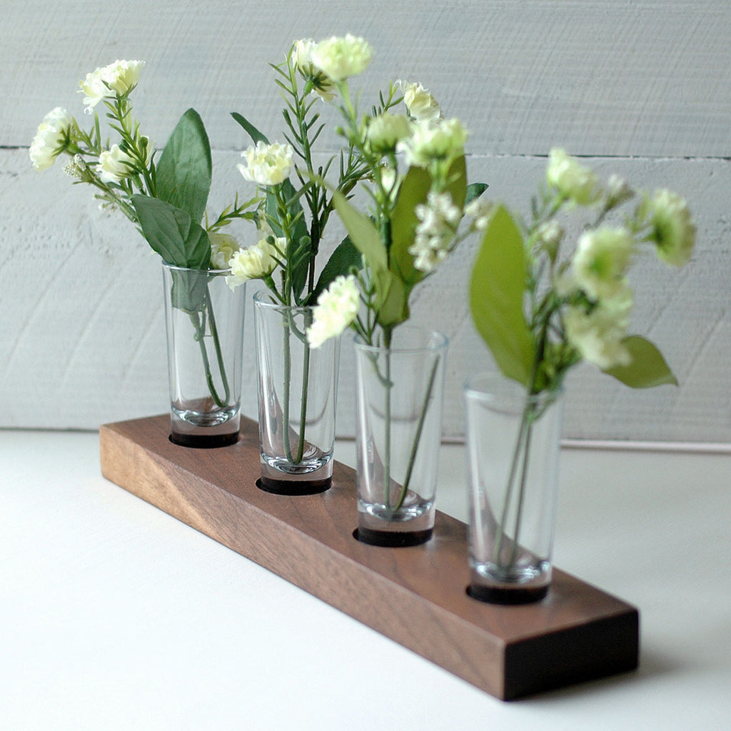 Beautiful Shot Glass Flower Vases On Solid Walnutholder