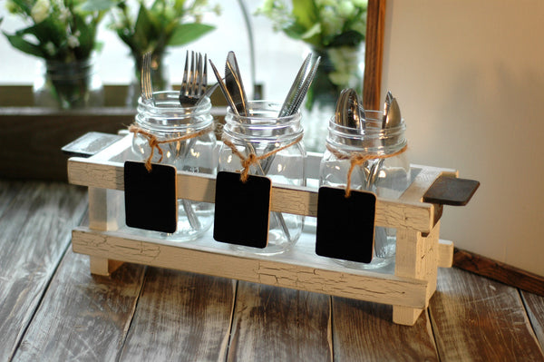 3-Section Wood Flatware Caddy Set with Mason Jars