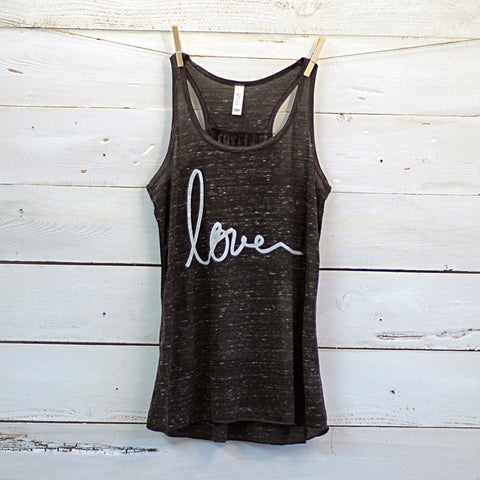 Love Racerback Burnout Tank Top
