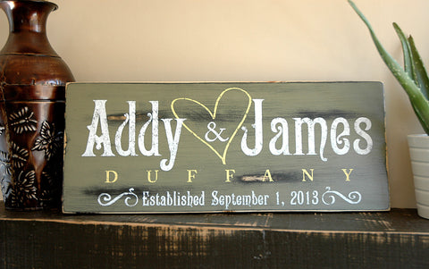 Rustic Wooden Established Plaque, Personalized Last Name Sign, Wedding Gift Sign