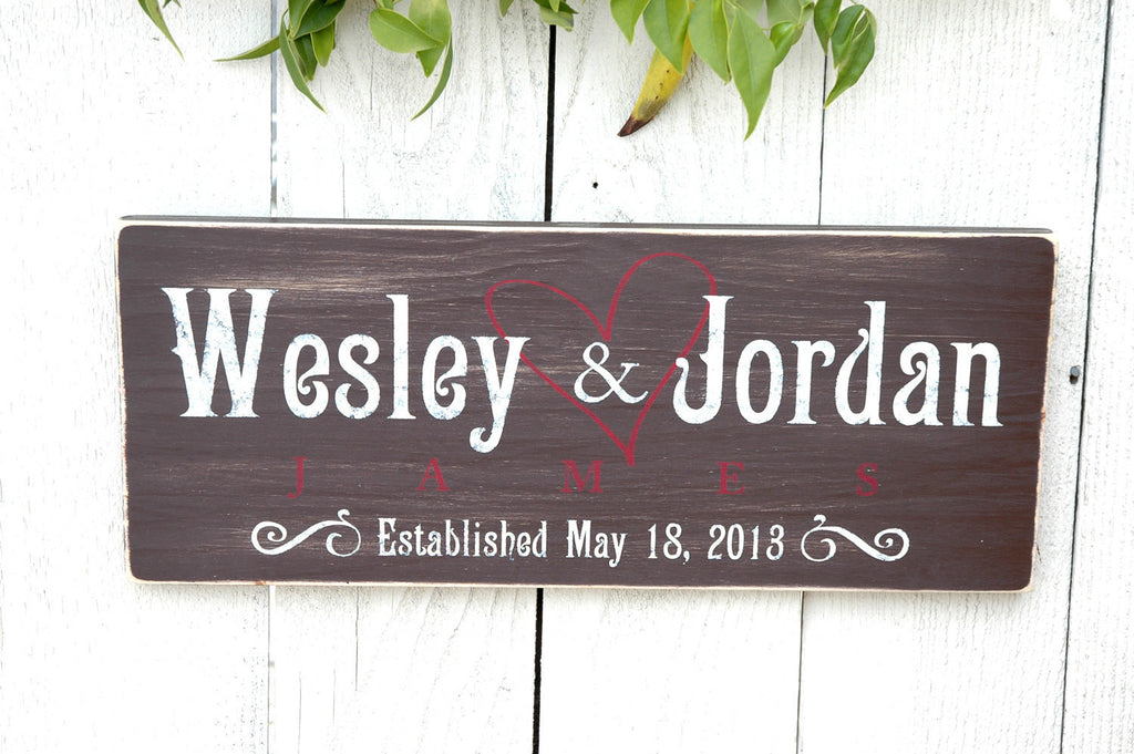 Chocolate Brown Established Sign in Rustic Wood Finish, Perfect Wedding Gift Idea