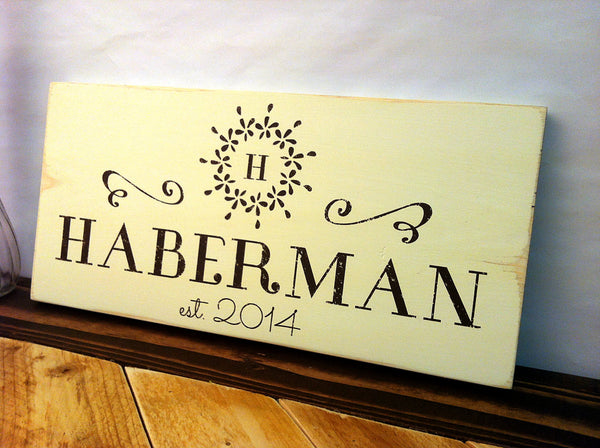 Family Name Est Sign with Monogram in Rustic Yellow Wood Sign