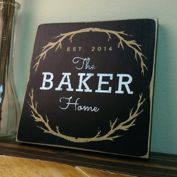 Family Name Home Sign in Black with Distressed Rustic Edges