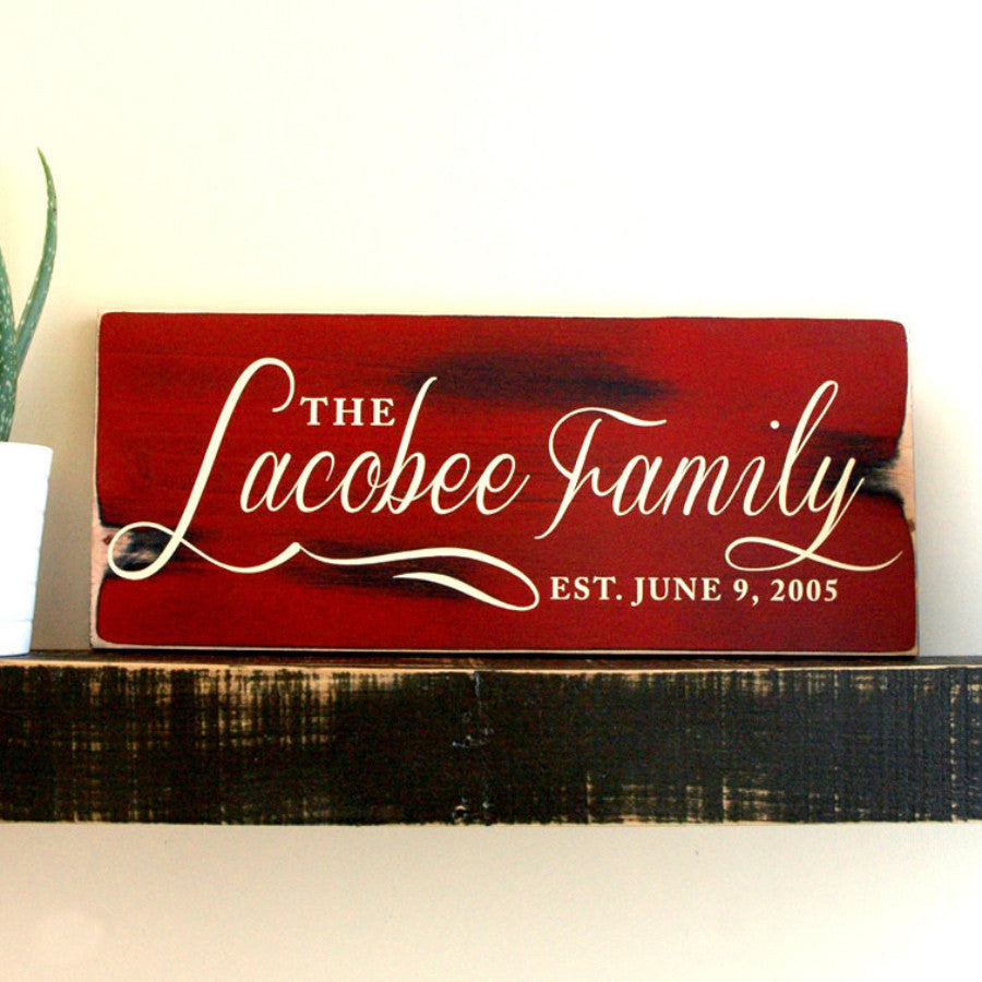 Family Last Name Sign, Family Established Sign, Hand Painted in Rustic Colonial Red