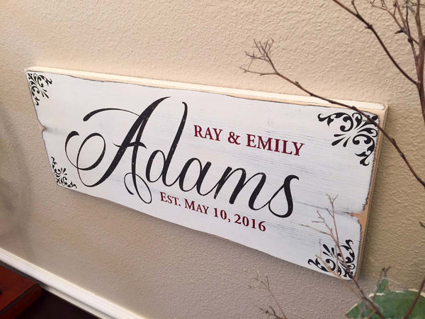 Rustic Family Established Sign - Antique White Finish