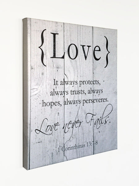 LOVE Canvas Art, Wall Decor, 1 Corinthians, Scripture Verse Art, 16x20