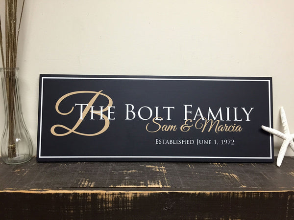 Family Established Sign, Personalized Family Name Sign, Last Name Sign 22x8