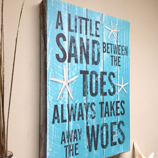Beach Decor Quote on Canvas Art, A Little Sand Between The Toes, 16x20