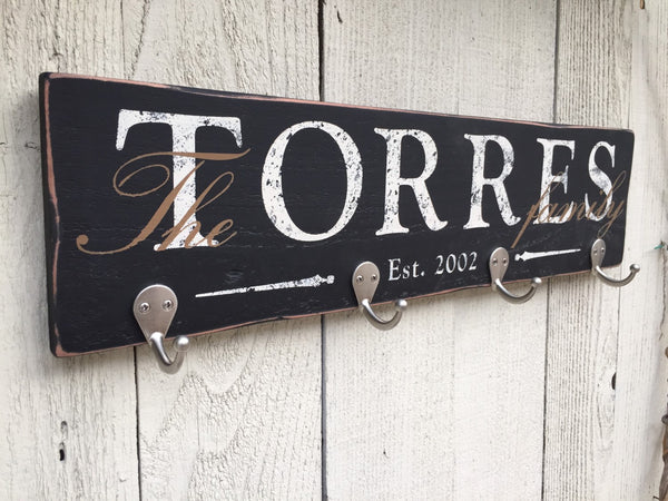 Rustic Key Holder and Personalized Coat Hook, Family Established Sign, Hand Painted Family Sign