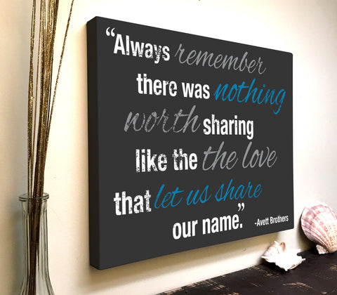 Love Quote Canvas Art: Always Remember There Was Nothing Worth Sharing