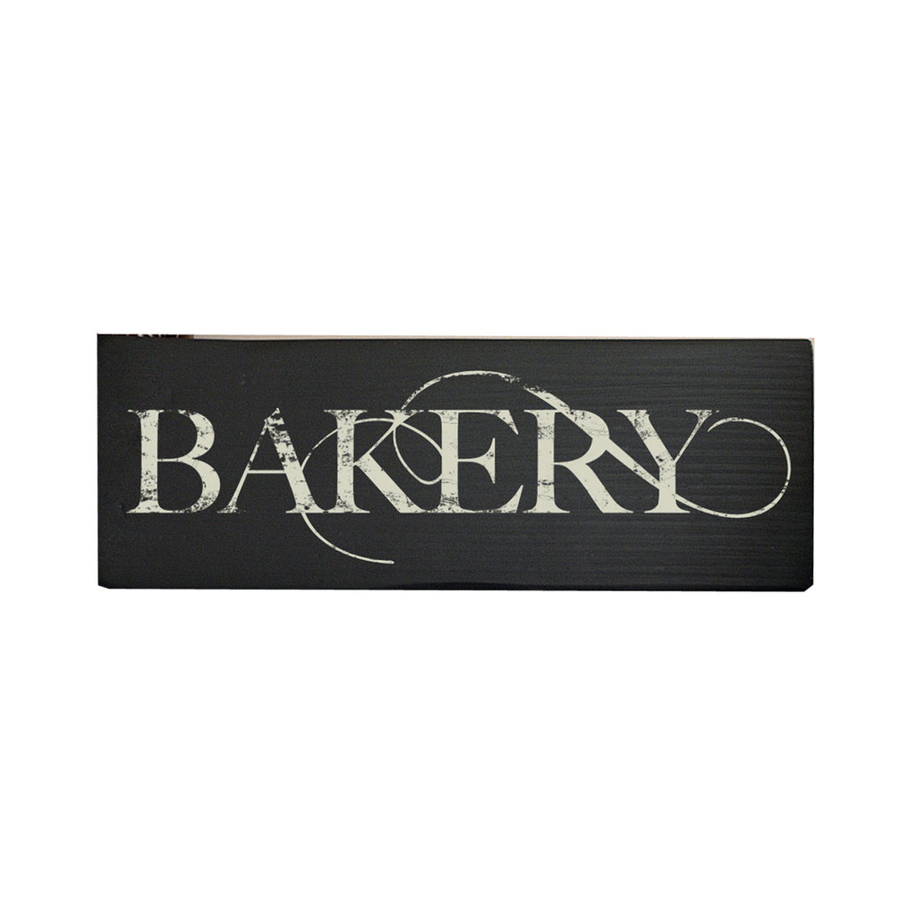 Rustic Bakery Wood Sign, Hand Painted Black and Ivory, 16x5