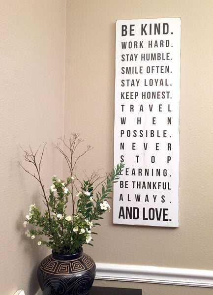 House Rules, Be Kind Work Hard Stay Humble Smile Often Shabby Chic Wall Decor 11x36