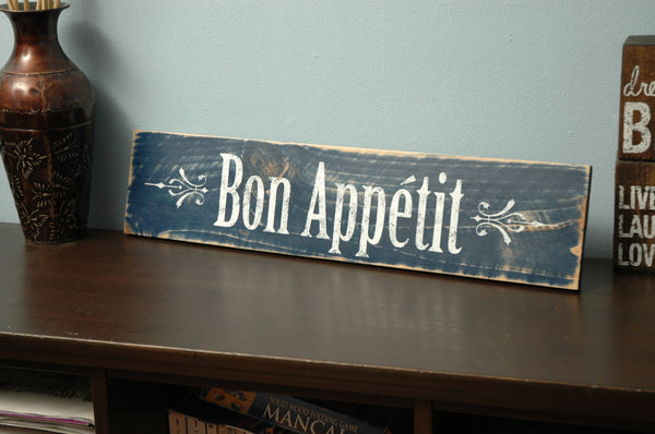 Rustic Bon Appetit Sign Hand Painted on Distressed Wood
