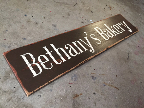 Custom Message Sign in Black with Painted Letters in a Rustic Wood Sign