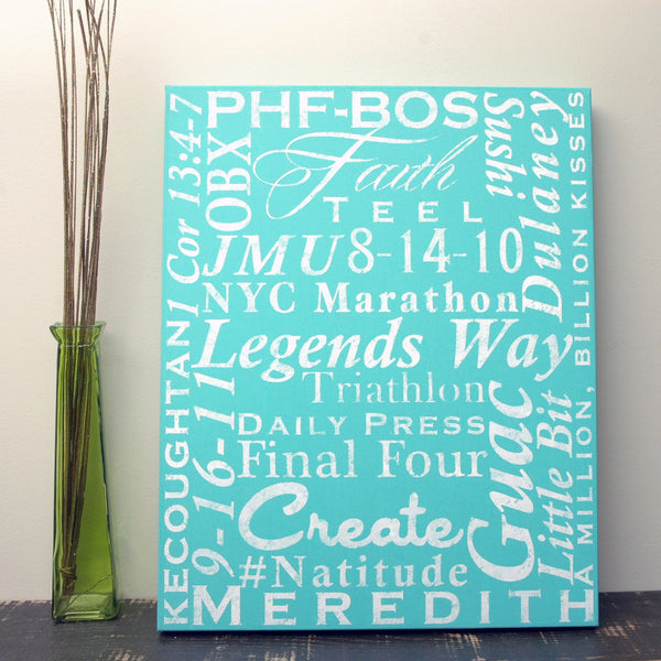 "Custom Printed Words Canvas Art on 1.5"" Stretcher Frame"