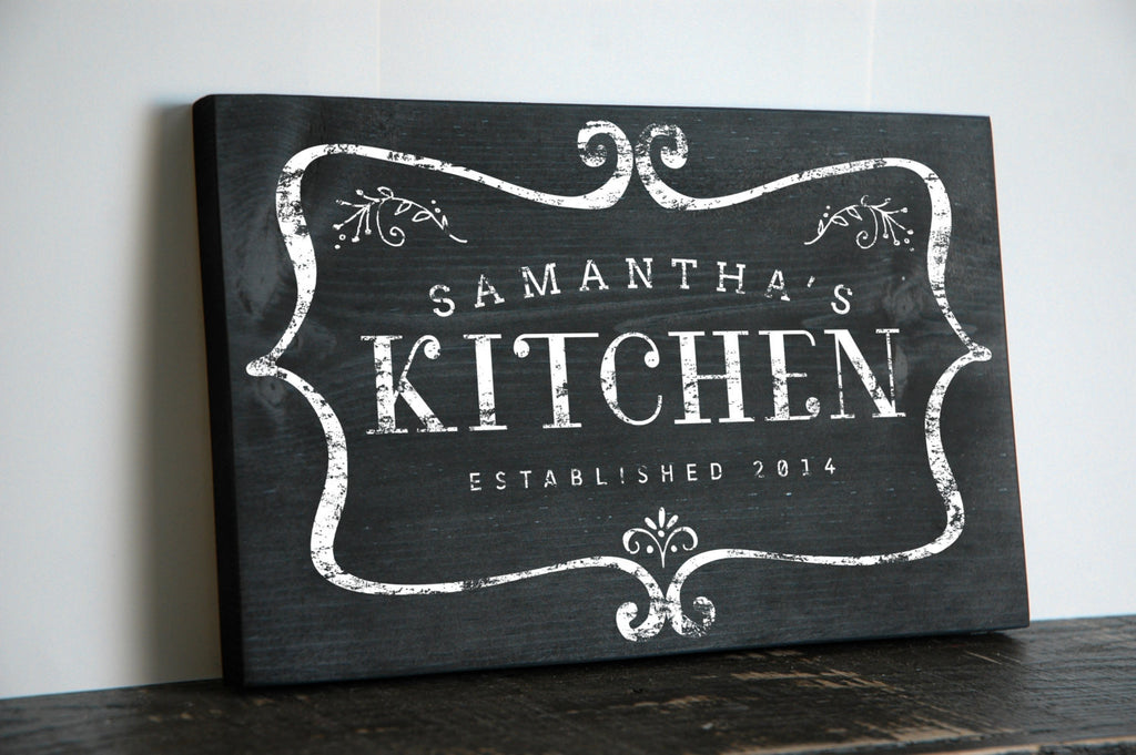 Charmant Personalized Kitchen Sign · Personalized Kitchen Signs Hand Painted In  Rustic Design For The Perfect Kitchen Wall Sign