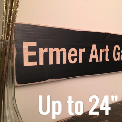 "Custom Wood Sign with Your Own Message, Black in Rustic Finish Up to 24"" Long"