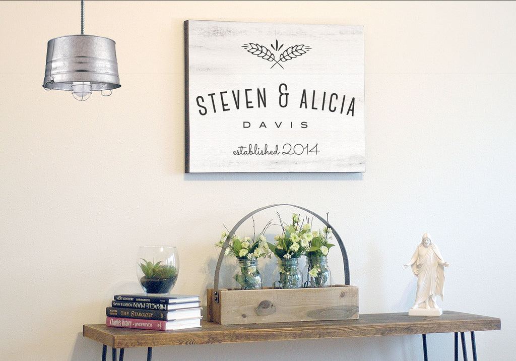 Farmhouse Canvas Wall Art - Personalized Last Name Established Frame ...