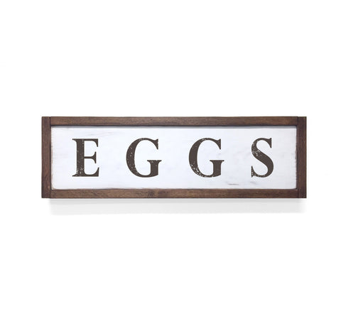 Eggs Floater Frame Wall Art Sign White Walnut, 24x7