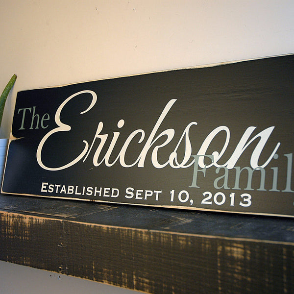 Hand Painted Family Established Sign, First Name Last Name