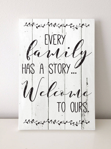 Every Family Has a Story, Shiplap Canvas Art, 16x20