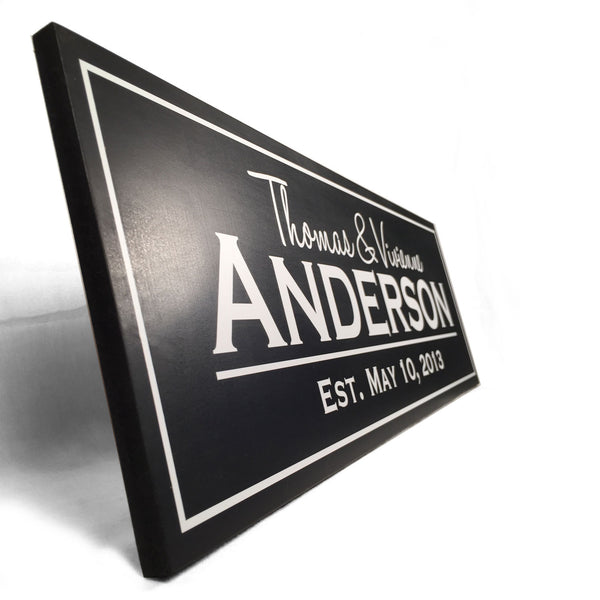 Modern Family Established Sign with Cut Vinyl, Solid Finish