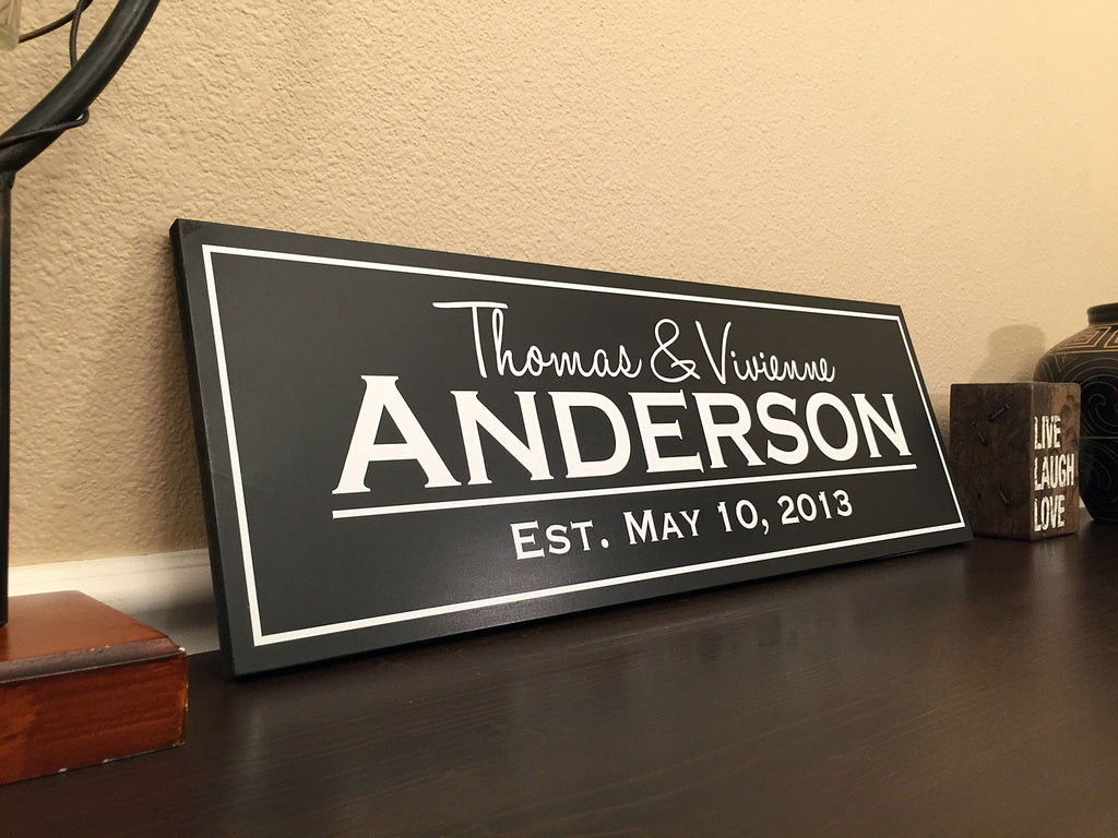 Modern Family Established Sign With Cut Vinyl Solid