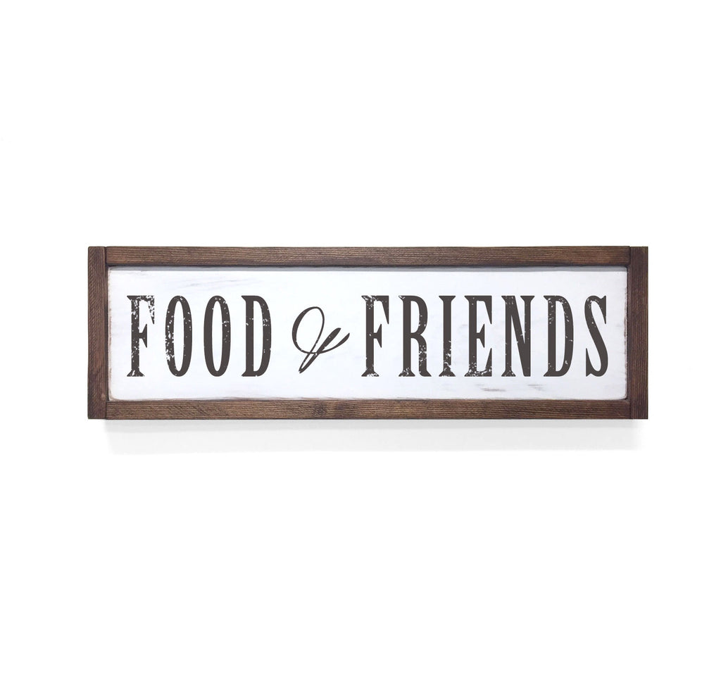 Food Friends Floater Frame Wall Art Sign White Walnut