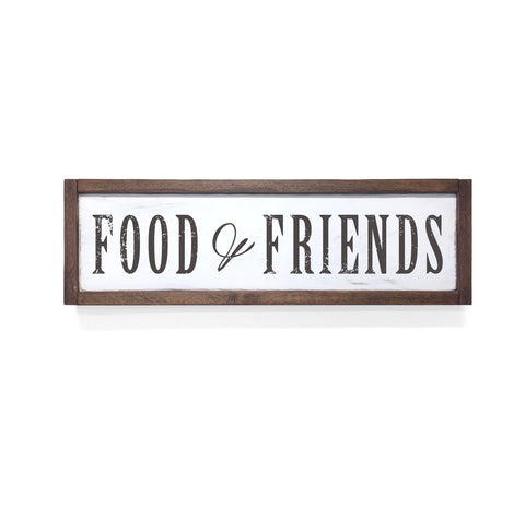 Food & Friends Floater Frame Wall Art Sign White Walnut, 24x7
