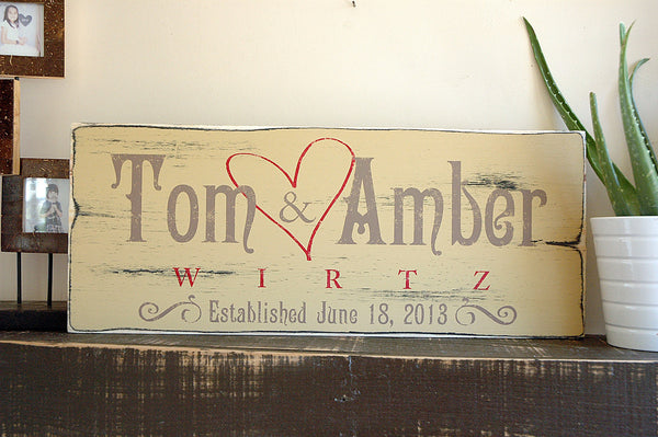 Custom Family Name Sign, Established Sign in Rustic Distressed Wood Finish