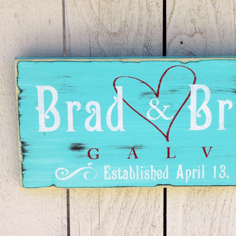 Handmade Family Established Sign with Heart, First Name Last Name Sign, Est. Sign, Rustic Wood Sign Finish