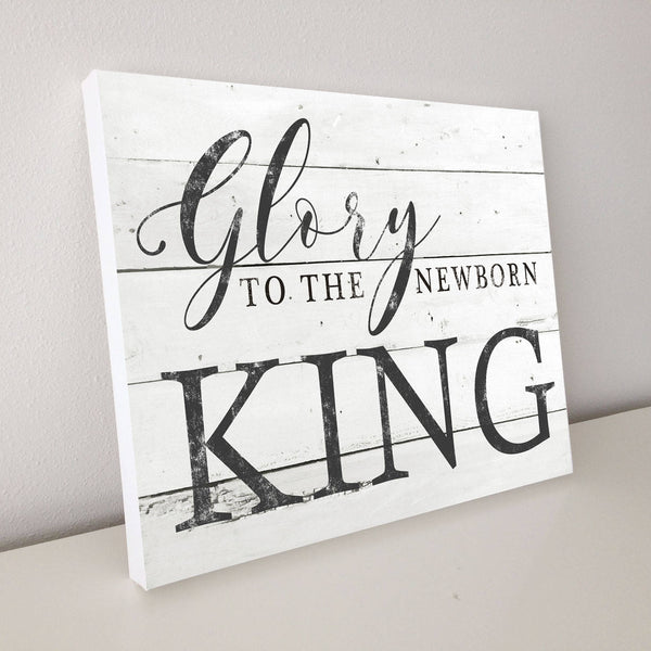 Glory to The Newborn King, Shiplap Canvas Art, 20x16