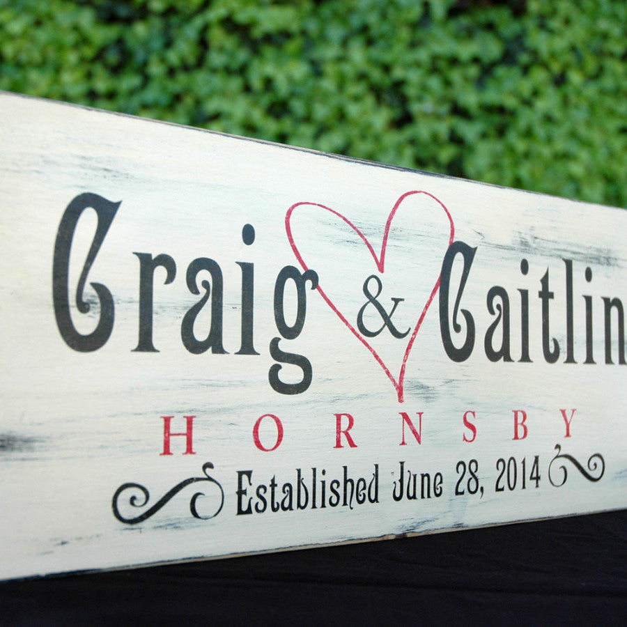 Ivory Painted Established Sign, Family Name Sign in Rustic Wood Finish