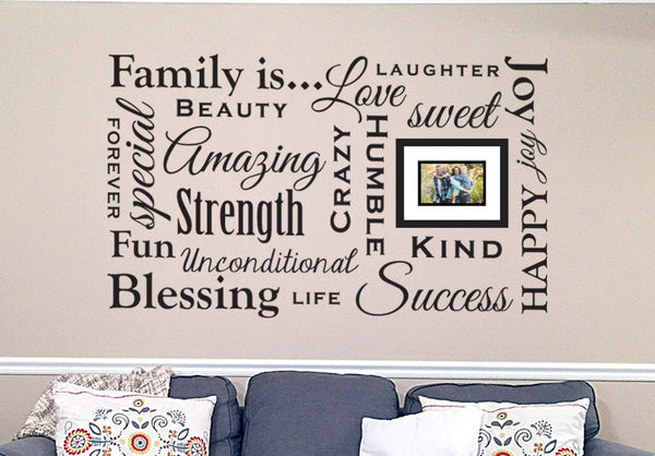 Large Family Values Wall Decal Wall Art Vinyl Sticker Sign Home Decor Decorative Signs 60x36