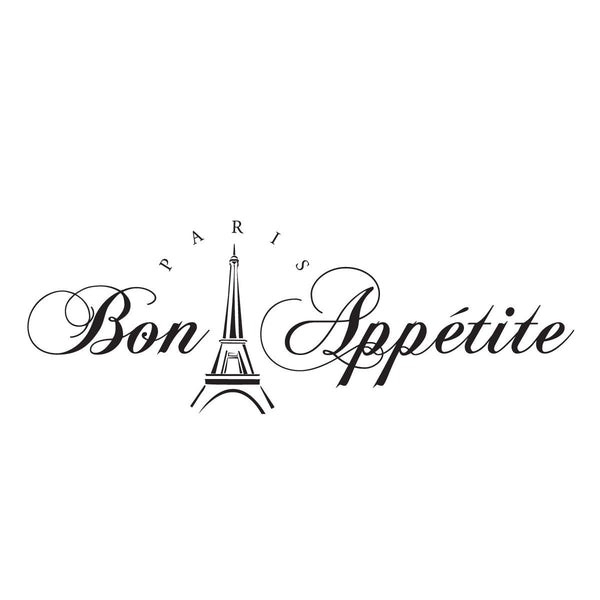 Bon Appetit Wall Decal, Paris Kitchen Wall Decor Wall Art Wall Sticker for the Kitchen 24x10