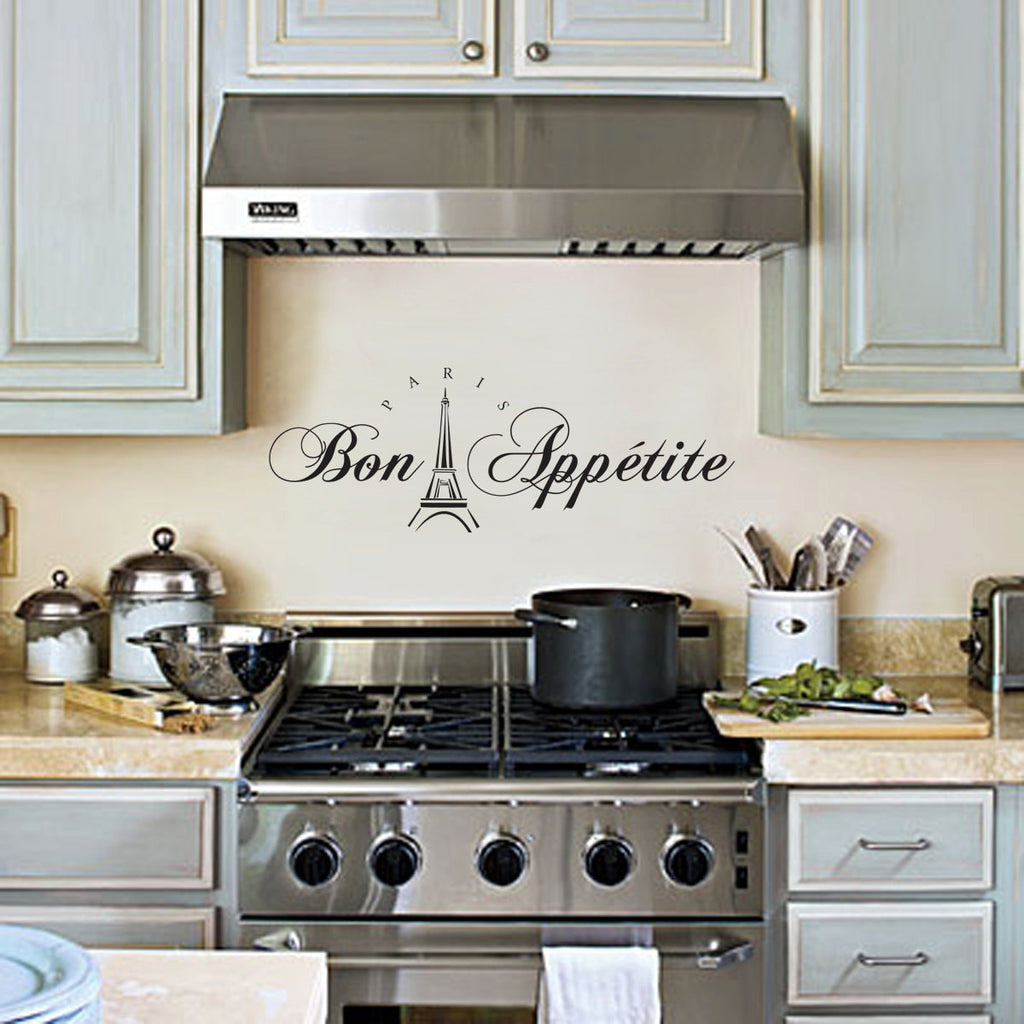 Bon Appetit Wall Decal Paris Kitchen Wall Decor Wall Art Wall Sticker For The Kitchen 24x10