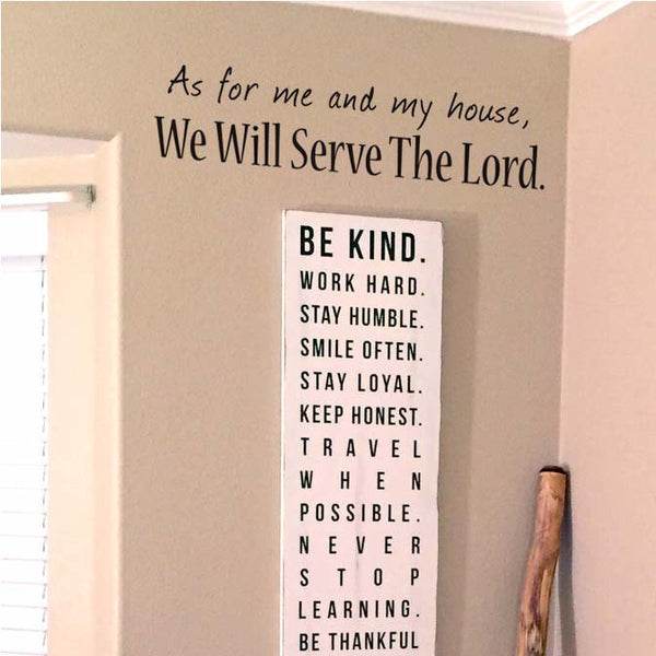 As for Me and My House We Will Serve The Lord Wall Decal, Home Wall Decor Wall Art Wall Sticker for the House, Living Room, Family Room 24x6