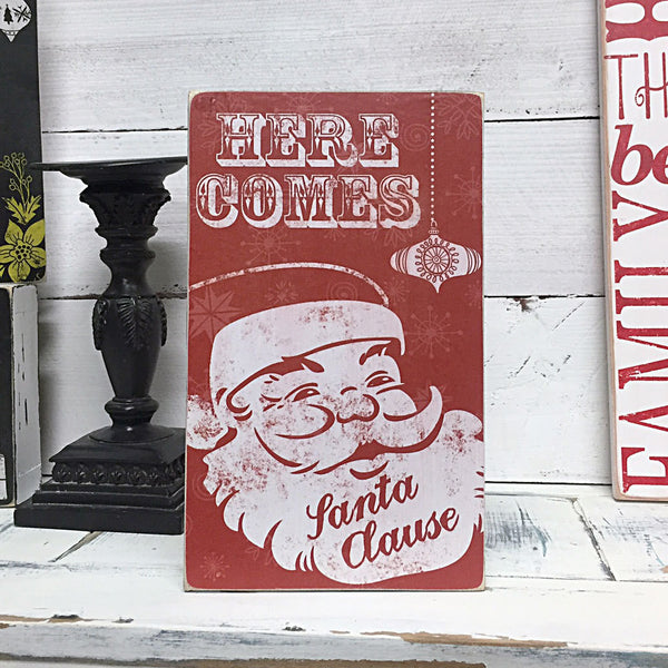 Christmas Home Decor, Here Comes Santa Clause Sign, Vintage Christmas Decor, Decorations, Christmas Box Sign, 6x10