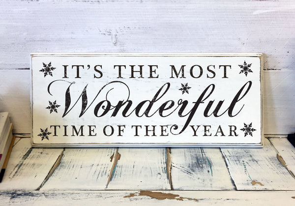 Christmas Home Decor, It's the most wonderful time of the year, Wood Sign, Vintage, Shabby Chic Christmas Decor, Decorations, Holidays Decor