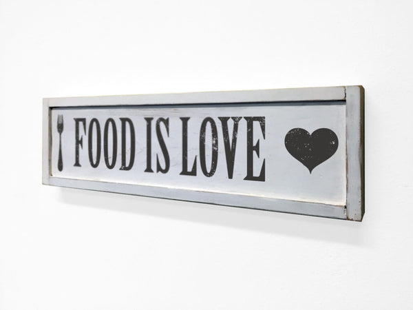Food is Love Floater Frame Wall Art Sign White, 24x7