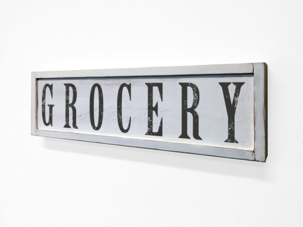 Grocery Floater Frame Wall Art Sign White, 24x7