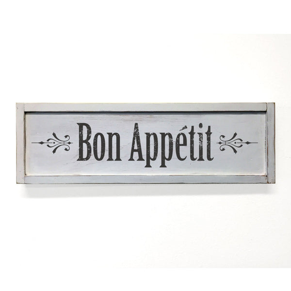 Bon Appetit Floater Frame Wall Art Sign White, 24x7