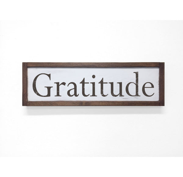 Gratitude Floater Frame Wall Art Sign White Walnut, 24x7