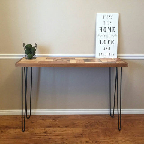 Rustic Console Table with Metal Hairpin Legs, Multi Pattern Reclaimed Wood